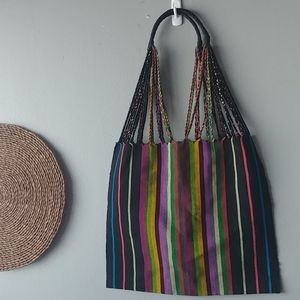 Colorful cloth knit embroidery woven bag